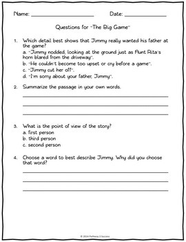 4th Grade Reading Comprehension Assessments for Literature by ...