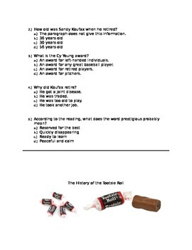 4th Grade Reading Comprehension Nonfiction Packet (Common Core)