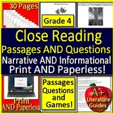 4th Grade Reading Comprehension Passages and Questions 4th Grade Close Reading