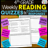 4th Grade Reading Comprehension Quizzes & Constructed Resp