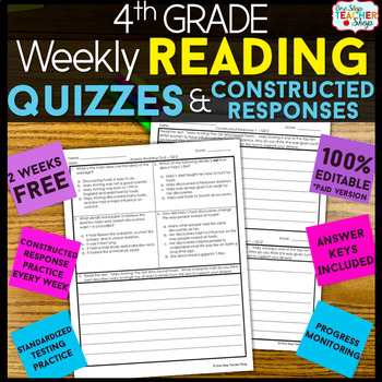 4th Grade Reading Comprehension Quizzes & Constructed Response Practice | FREE