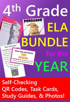 4th Grade ELA BUNDLE {Task Cards & Study Guides with QR codes}