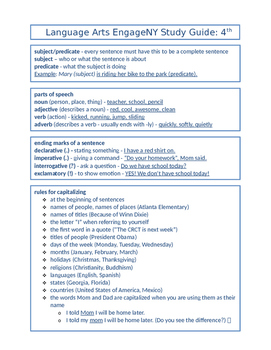 4th Grade Reading/ELA EngageNY Standards Assessment NYS Study Guide