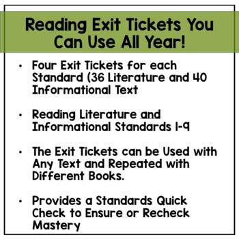 4th Grade Reading Exit Tickets Bundle: Literature and Informational Text