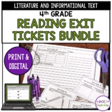 4th Grade Reading Exit Tickets Bundle Literature and Informational Text