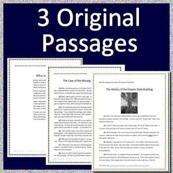 4th Grade FSA Test Prep Reading Practice Tests - Print and Go AND Paperless!