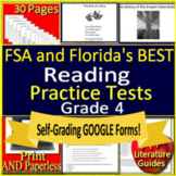 4th Grade FSA Reading Test Prep Practice Set - 2019 Format - Print and Paperless