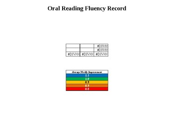 4th Grade Reading Fluency Record