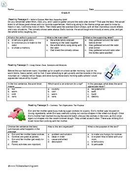 4th Grade Reading Fluency and Comprehension Passages