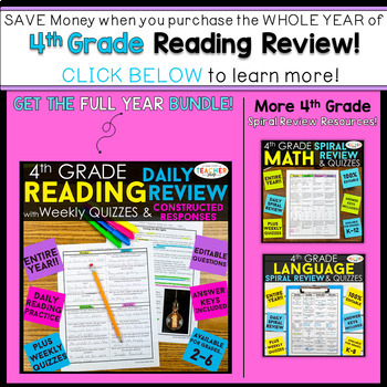 4th Grade Reading Review | Homework or Morning Work FREE
