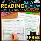 4th Grade Reading Homework & Quizzes with Constructed Resp