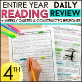 4th Grade Reading Homework   Reading Comprehension Passages & Questions BUNDLE