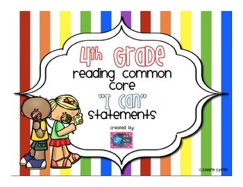 4th Grade Reading I Can Common Core Standards