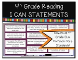 4th Grade Reading I Can Statements