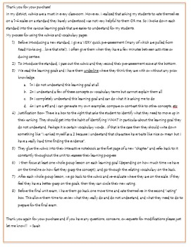 4th Grade Reading Informational Rubrics and Learning Goals- Florida
