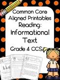 4th Grade Reading Informational Text Printables- Assessmen