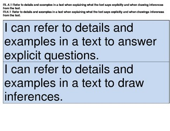 4th Grade Reading, LA, Writing Common Core I Can Statements