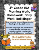 4th Grade Reading, Language Arts, ELA Morning Work, Daily Work, Homework