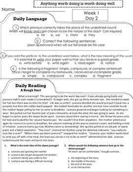 4th Grade Reading, Language Arts, ELA Morning Work, Daily Work, Homework