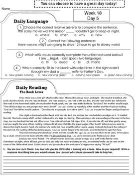 4th Grade Reading, Language Arts, ELA Morning Work, Daily Work, Homework JAN-MAY