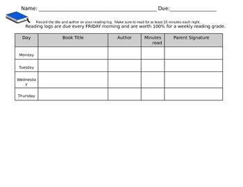 4th Grade Reading Log