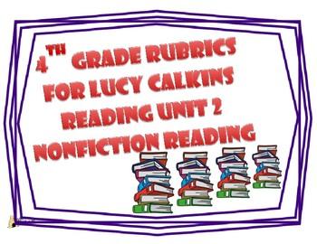 4th Grade Reading Lucy Calkins Unit 2 Rubrics
