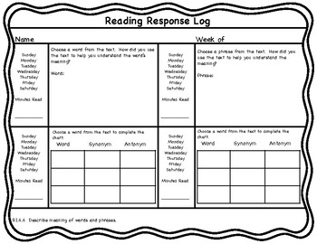 4th Grade Reading Response Logs with 4th Grade Reading Common Core Standards