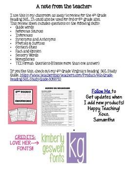 4th Grade Reading SOL Review Worksheet #1