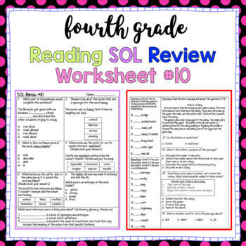 4th Grade Reading SOL Review Worksheet #10