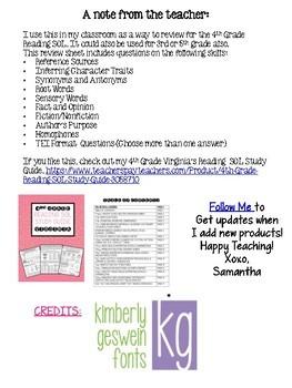 4th Grade Reading SOL Review Worksheet #2
