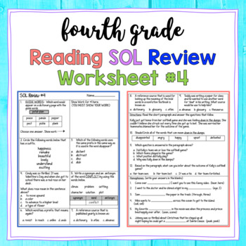 4th Grade Reading SOL Review Worksheet #4