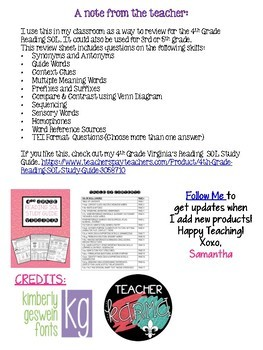 4th Grade Reading SOL Review Worksheet #5