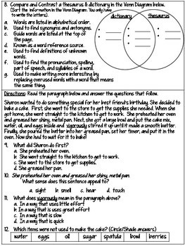 4th Grade Reading SOL Review Worksheet #5