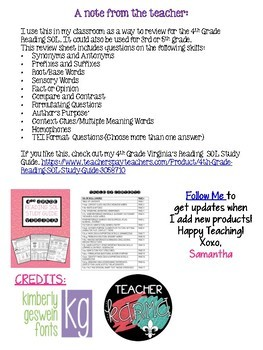 4th Grade Reading SOL Review Worksheet #7