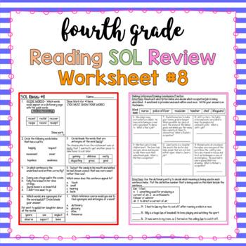 4th Grade Reading SOL Review Worksheet #8