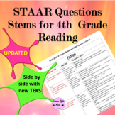 4th Grade Reading STAAR Question Stems by teks 2016-2018