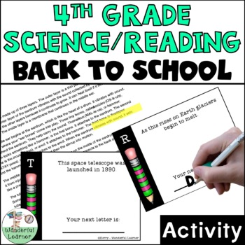 4th Grade Reading/Science First Day of School Activity