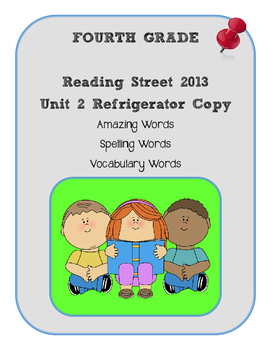 4th Grade Reading Street 2013 Unit 2 Refrigerator Copy