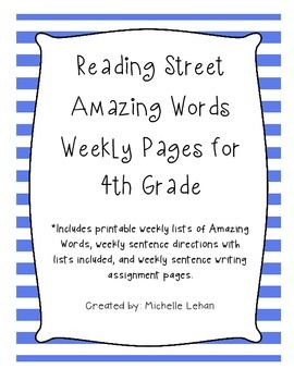 4th Grade Reading Street Amazing Words Weekly Pages