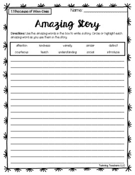 4th Grade Reading Street Amazing Words - Writing Activity ...