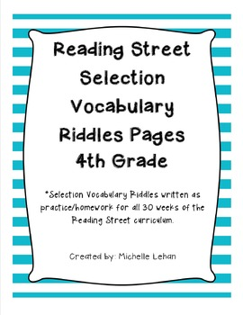 4th Grade Reading Street Selection Vocabulary Riddles