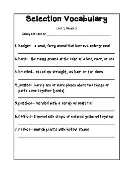 4th Grade Reading Street Selection Vocabulary Study Sheets