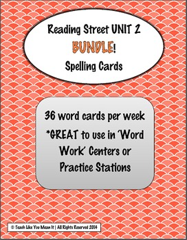 4th Grade Reading Street UNIT 2 SPELLING CARD BUNDLE
