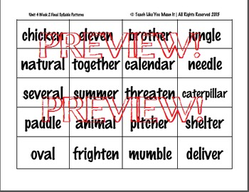 4th Grade Reading Street UNIT 4 SPELLING CARD BUNDLE