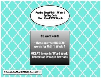 4th Grade Reading Street Unit 1 Week 1 SPELLING CARDS