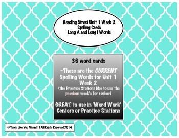 4th Grade Reading Street Unit 1 Week 2 SPELLING CARDS