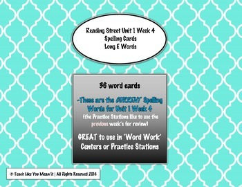 4th Grade Reading Street Unit 1 Week 4 SPELLING CARDS