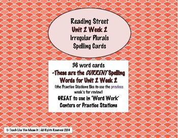 4th Grade Reading Street Unit 2 Week 2 SPELLING CARDS
