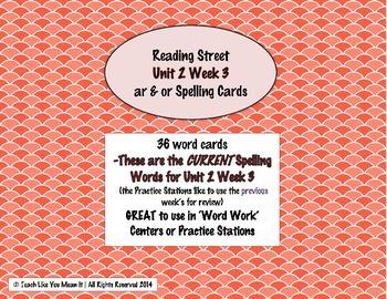 4th Grade Reading Street Unit 2 Week 3 SPELLING CARDS