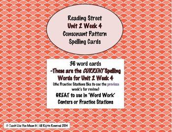 4th Grade Reading Street Unit 2 Week 4 SPELLING CARDS